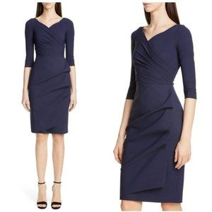 Chiara Boni Blue Florian Ruched Cocktail Dress